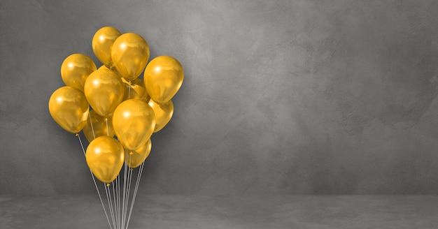 회색 벽 배경에 노란색 풍선 무리입니다. 가로 배너입니다. 3d 그림 렌더링