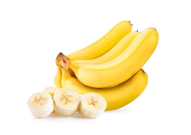 白い表面に分離された黄色いバナナ