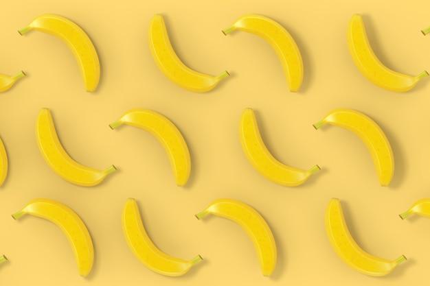 黄色の背景に黄色のバナナの背景テクスチャ。 3dレンダリング