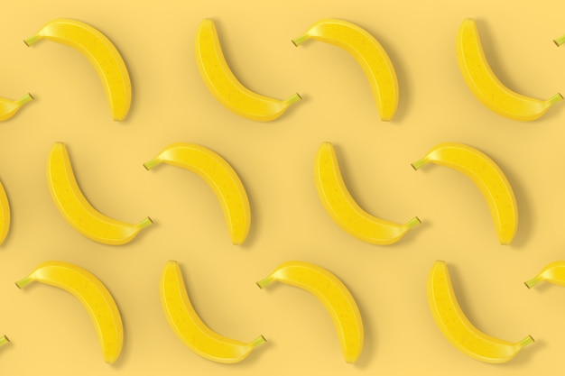 Yellow bananas background texture on a yellow backdrop. 3d rendering