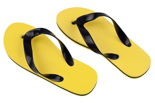 Yellow beach flip flops on white background
