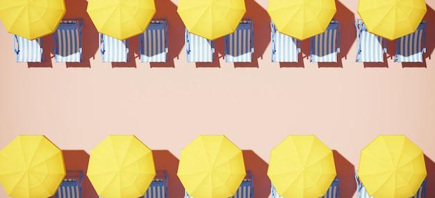 黄色のビーチパラソルと砂の上の青い縞模様のサンラウンジャー
