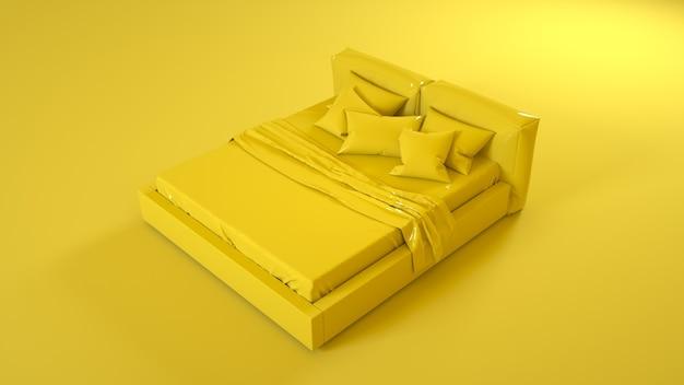 Желтая кровать, изолированные на желтом фоне. 3d иллюстрации.
