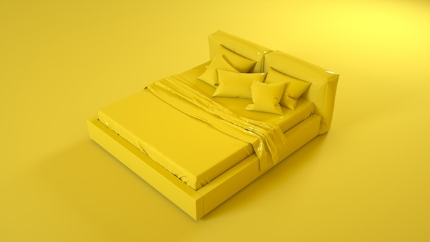 Yellow bed isolated on yellow background. 3d illustration.
