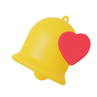 Yellow bell symbol for notification 3d rendering isolated on a white background