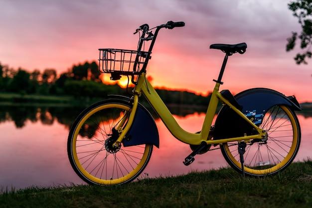 湖の黄色い自転車。夕焼けピンクの空