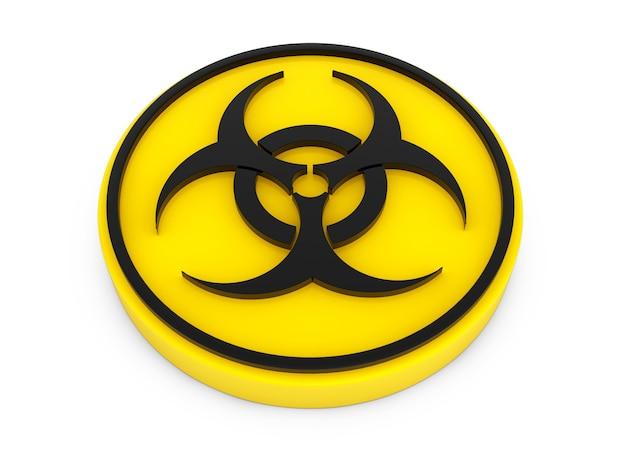 Желтая кнопка биологической опасности на белом фоне