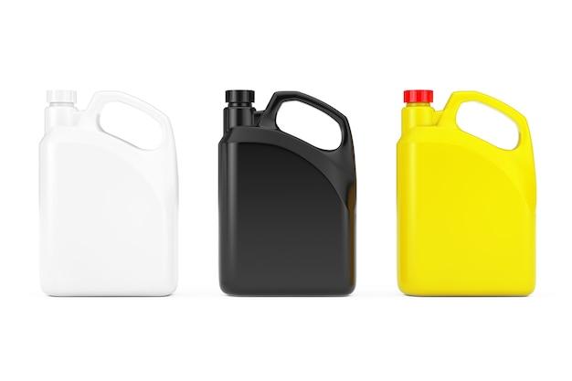 흰색 배경에 빈 공간 또는 귀하의 디자인이 있는 노란색, 흑백 플라스틱 빈 컨테이너 용기. 3d 렌더링