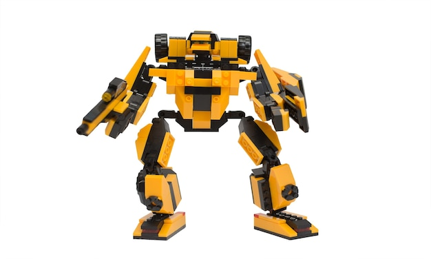 Yellow and black assembled robot