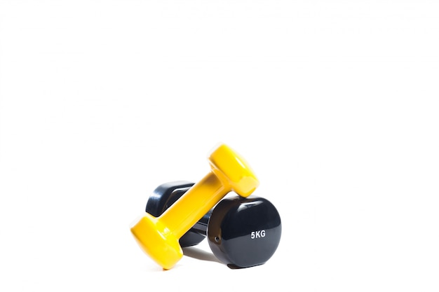 Yellow and black small dumbbells