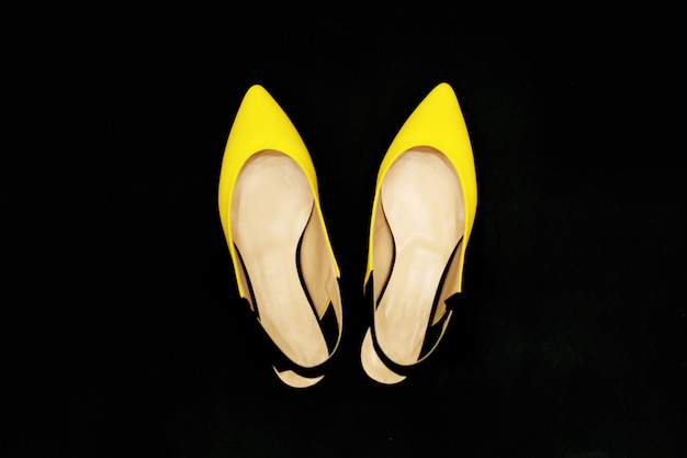 Yellow-black summer shoes