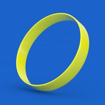 파란색 배경에 노란색 빈 프로모션 고무 또는 실리콘 손 팔찌. 3d 렌더링
