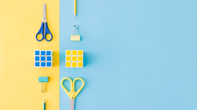 Yellow and blue compositions of stationery