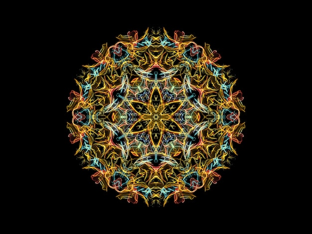 Yellow, blue and coral abstract flame mandala flower, ornamental floral round pattern on black background.