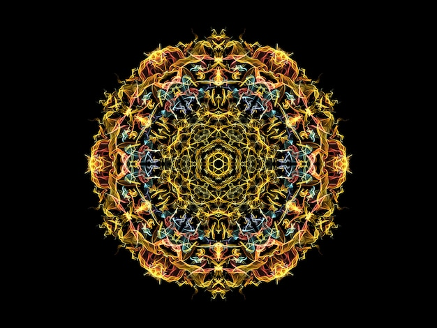 Yellow, blue and coral abstract flame mandala flower,  ornamental floral round pattern