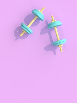 Yellow and blue dumbbells on violet