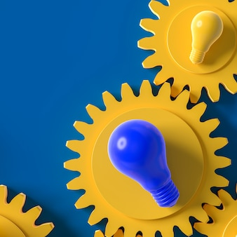 Yellow and blue light bulb on the gear blue background, idea concept