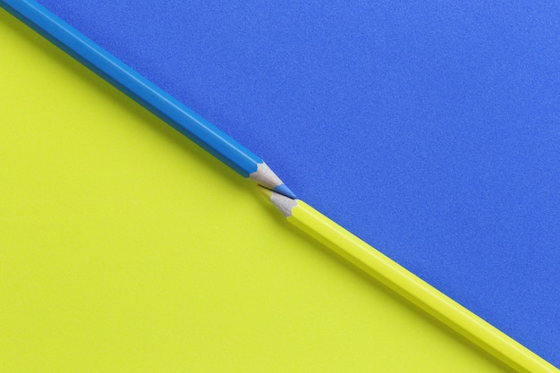 Yellow and blue pencil color on art paper