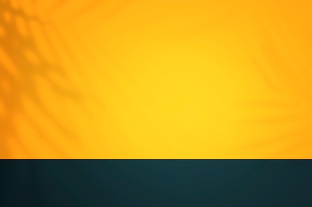 Yellow and blue tropical product backdrop wall with shadow