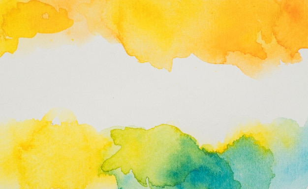 Yellow and blue watercolor stains