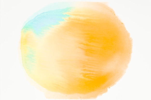 Yellow and blue watercolor texture spot isolated on white backdrop