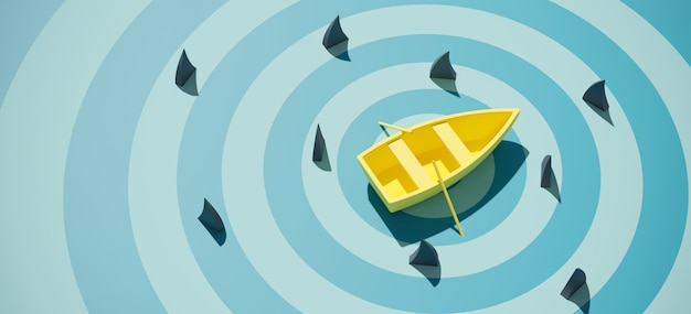 Yellow boat surrounded by shark fin on blue sea background
