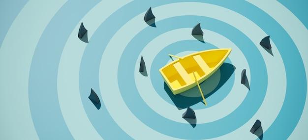 青い海の背景にフカヒレに囲まれた黄色のボート