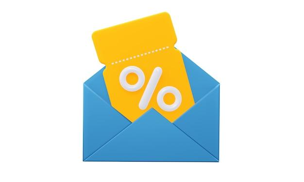 열린 편지와 함께 노란색 밝은 쿠폰. 흰색 배경에 고립. 3d 렌더링.