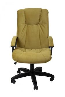 Кресло офиса ткани желтого коричневого цвета изолированное на белизне.