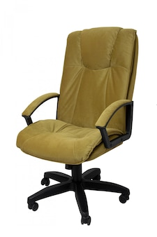 Yellow brown fabric office armchair isolated on white.