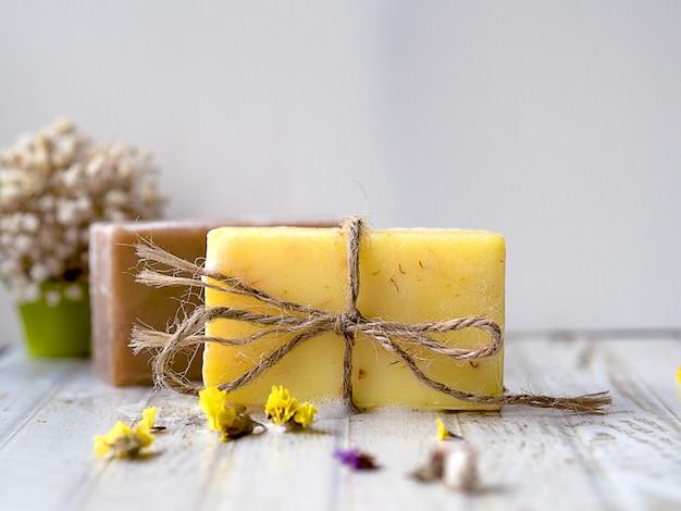 Yellow and brown natural handmade spa soap bar