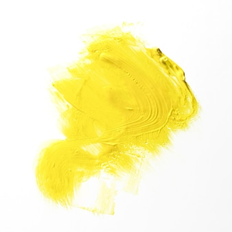 Yellow brush stroke with white background