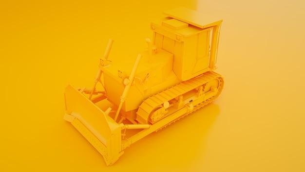 Yellow bulldozer. minimal idea concept. 3d illustration.
