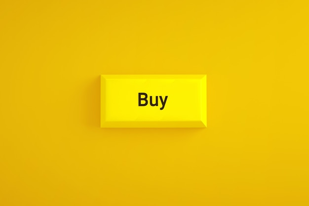 Yellow buy button over yellow background, 3d rendering