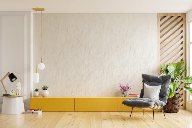 Желтый шкаф для телевизора на белой гипсовой стене в гостиной с креслом, минималистичный дизайн. 3d визуализация