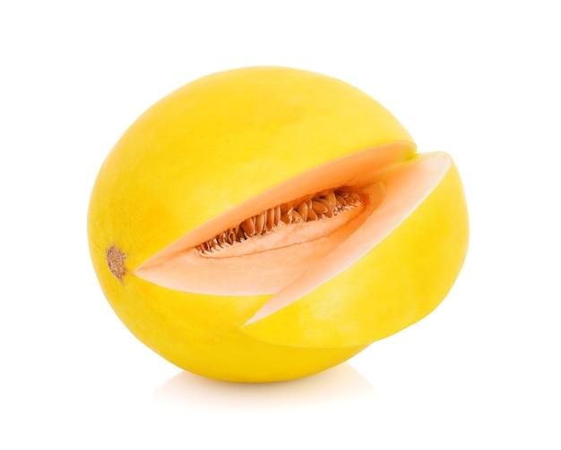 흰색 배경에 고립 된 노란색 멜론