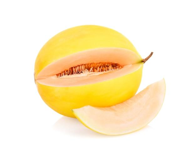 Yellow cantaloupe isolated on white background