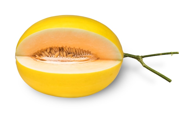 Yellow cantaloupe melon isolated on white, golden melon fruit on white with clipping path.