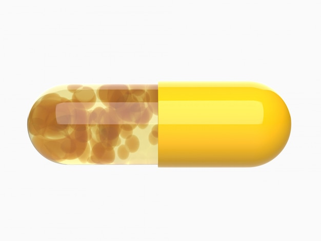 Yellow capsule pill,medical,medicine 3d render