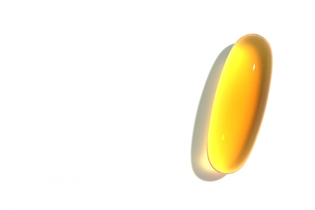 Yellow capsule vitamin, medical, medicine 3d render