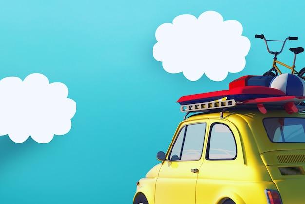 夏休みの準備ができている道路上の黄色い車。