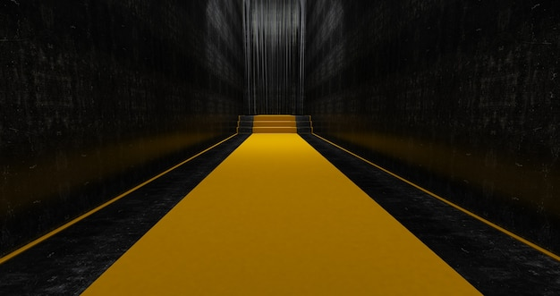 Yellow carpet on the stairs, the path to glory, stairway go up. business success. red velvet carpet. 3d render