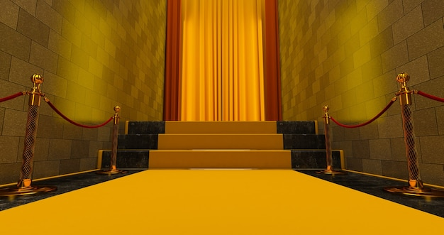 Yellow carpet on the stairs, the path to glory, stairway go up. business success. red velvet carpet.