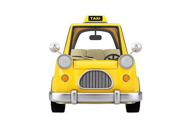 흰색 바탕에 노란색 만화 택시 자동차입니다. 3d 렌더링