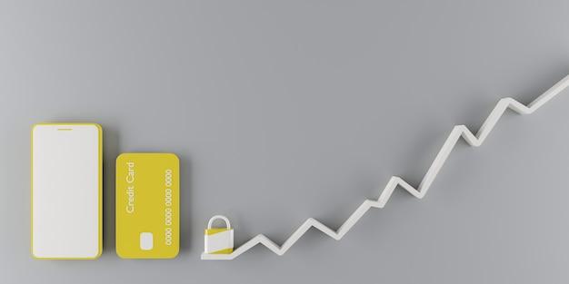 오름차순 그래픽이있는 자물쇠 옆에 노란색 휴대 전화 및 신용 카드. 3d 렌더링