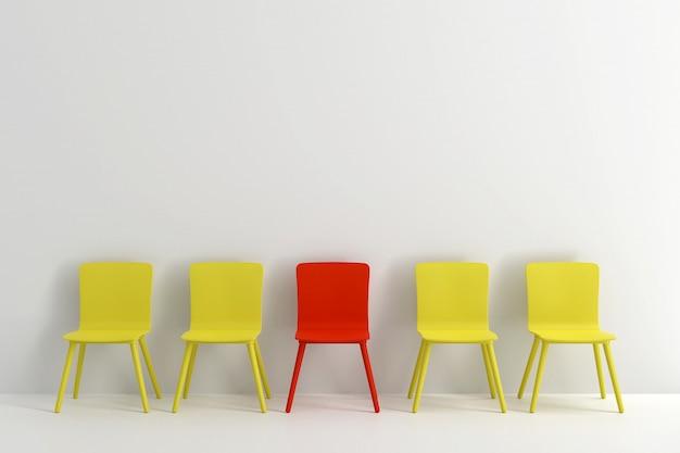 明るい灰色のリビングルームに黄色の椅子と赤い椅子。最小限のスタイルのコンセプト。
