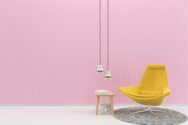 Yellow chair pink pastel wall white wood floor background texture rug book lamp