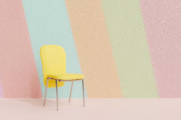 パステルカラーの壁に黄色い椅子、3dレンダリング。