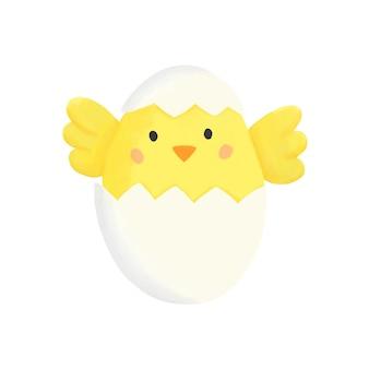 계란 클립 아트 디지털 손으로 그린 부활절 봄 그림에 노란 병아리