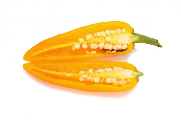 Yellow chili pepper isolated on white background